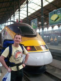 The Eurostar and a yellow train