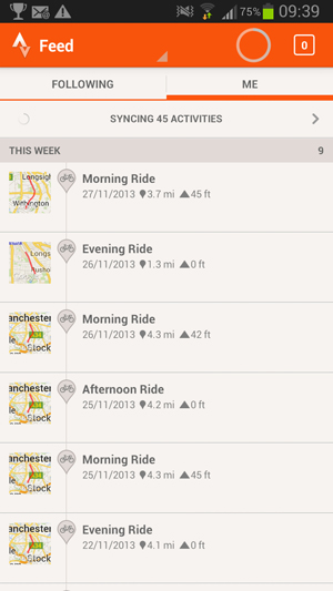 Strava Unsynced activities